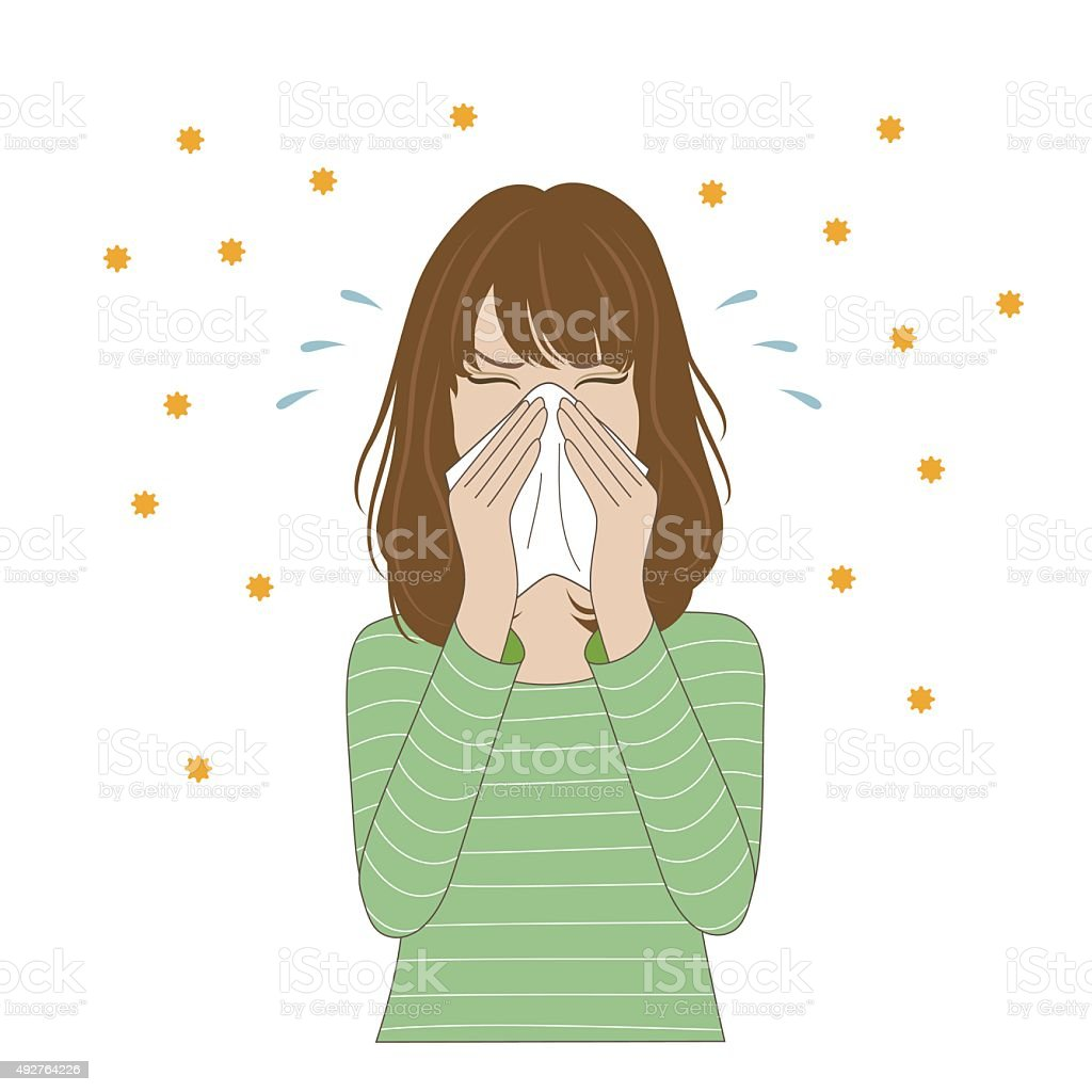 Woman blowing her nose vector art illustration