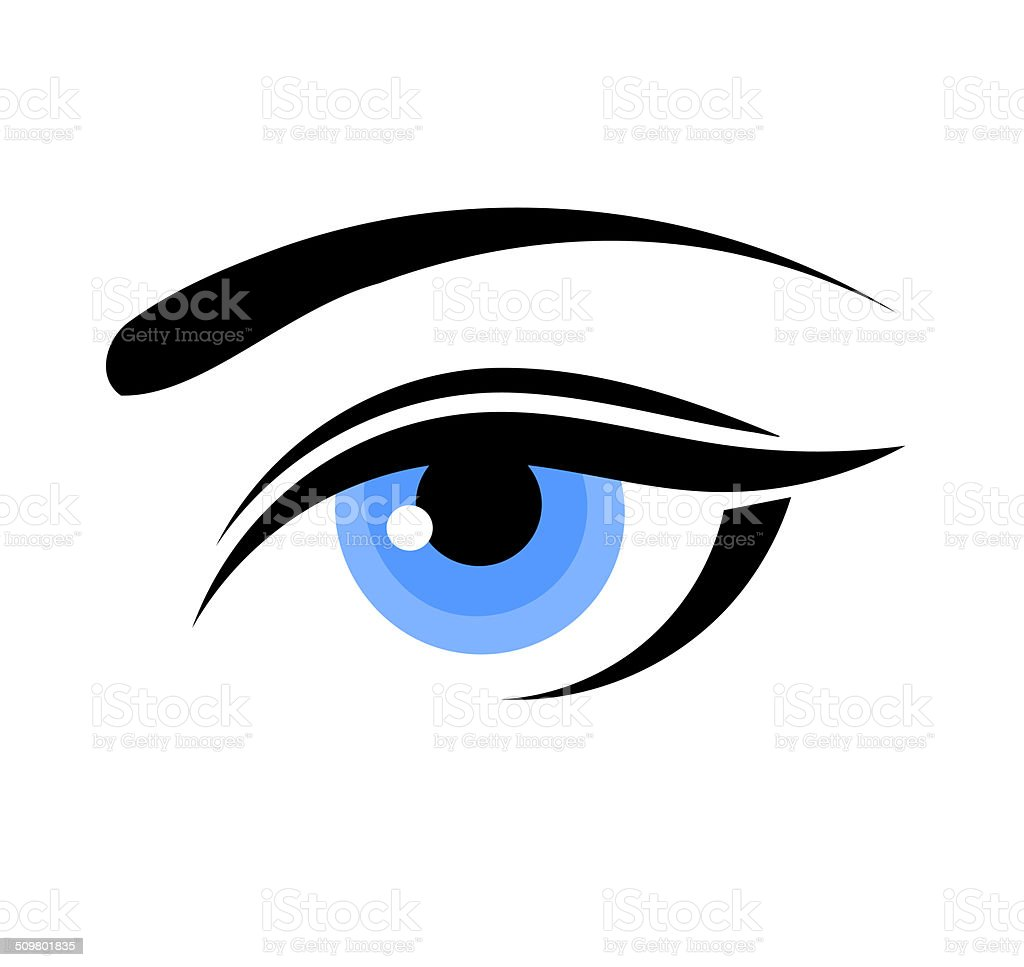 Woman blue eye vector art illustration