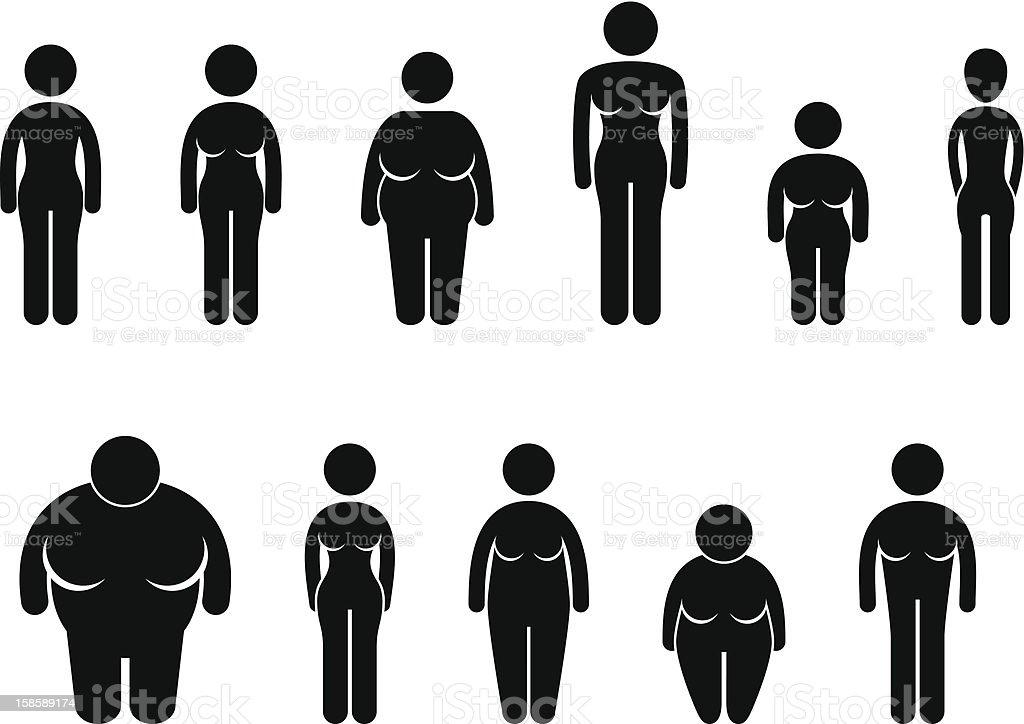 Woman Body Figure Size Pictogram vector art illustration