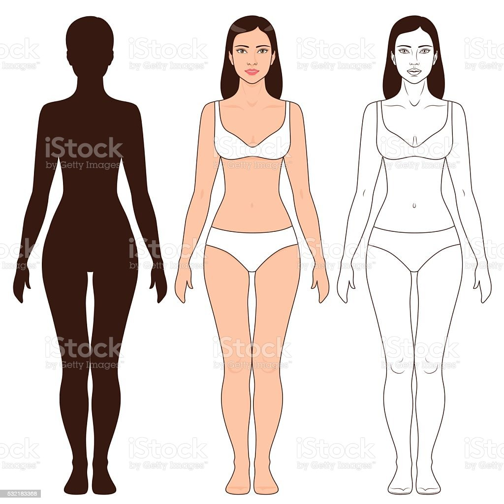 Woman Body Shape and Silhouette Template vector art illustration