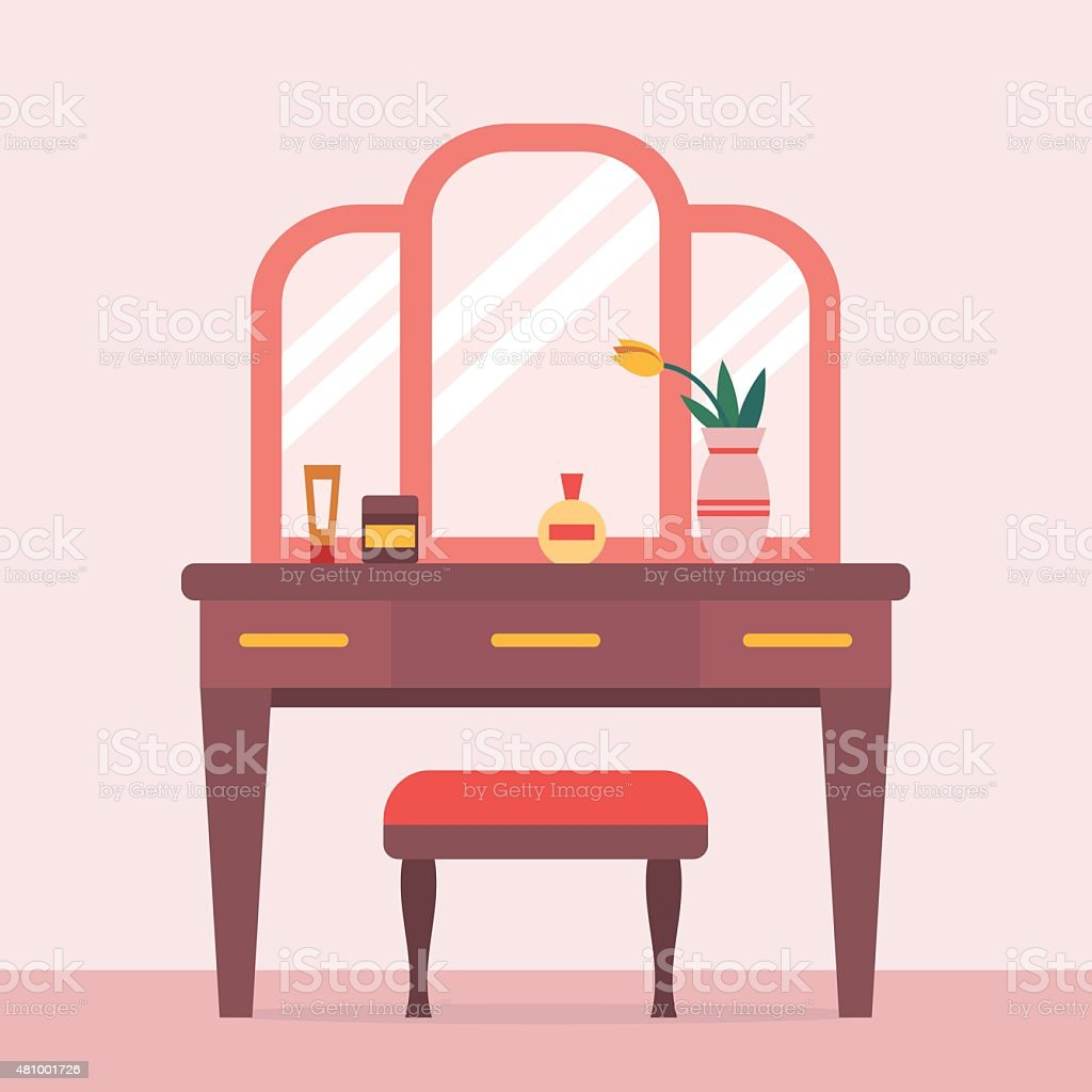 Woman boudoir with table vector art illustration