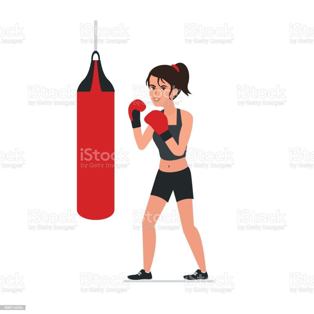 Woman boxing vector art illustration