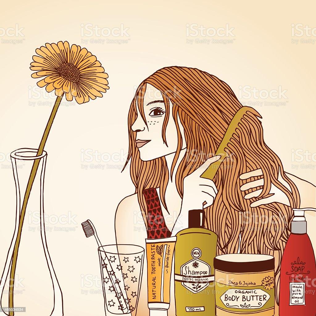 Woman Brushing Hair vector art illustration