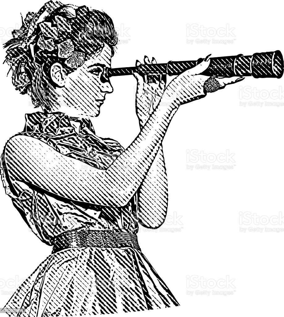Woman business owner looking through Spyglass vector art illustration