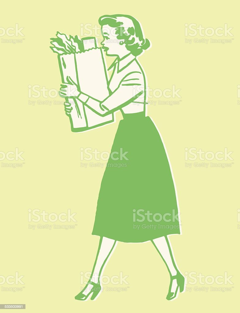 Woman Carrying Bag of Groceries vector art illustration