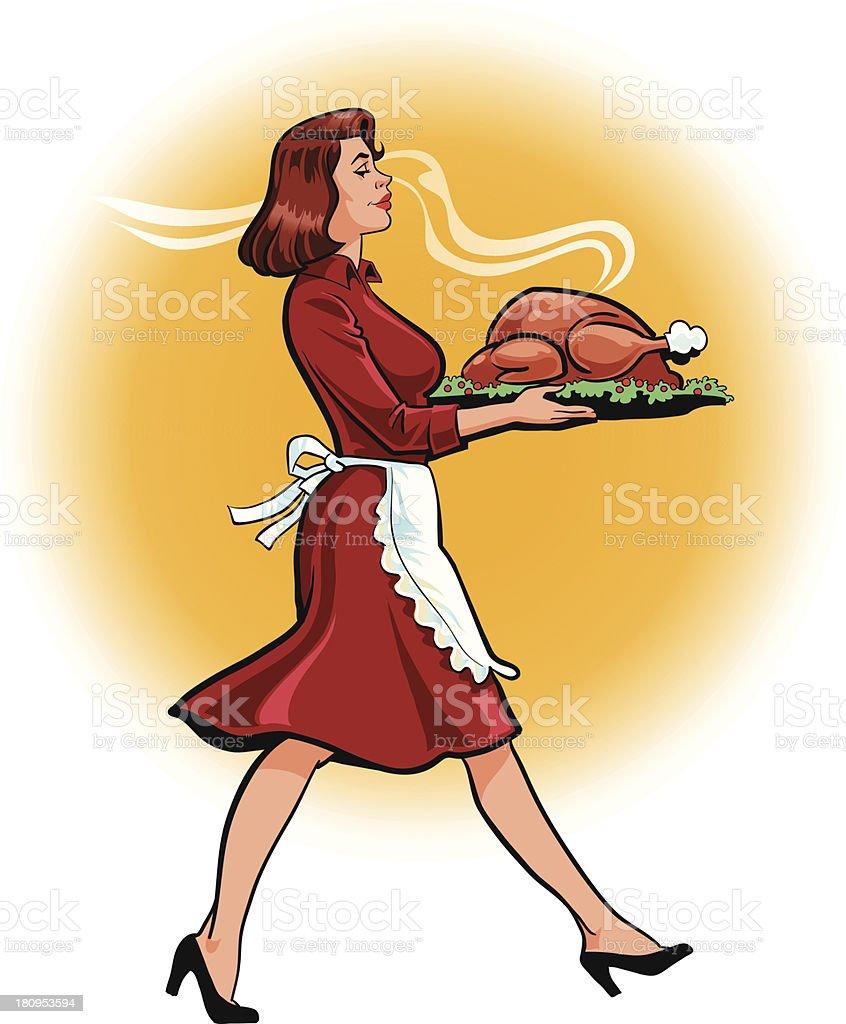 Woman Carrying Big Fat Roasted Turkey vector art illustration