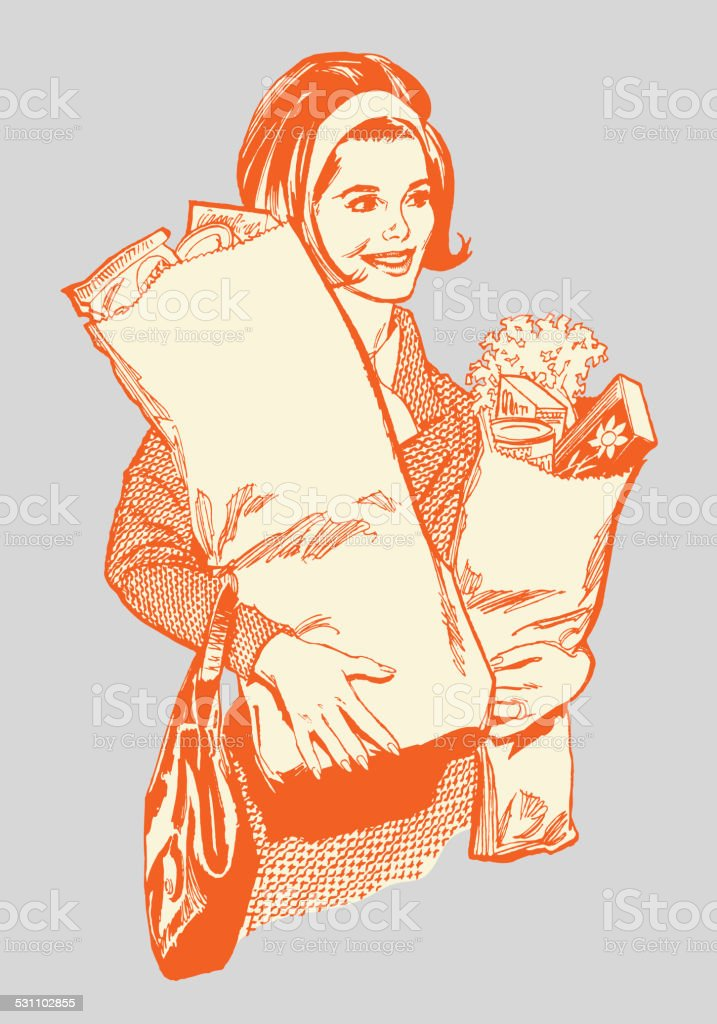 Woman Carrying Groceries vector art illustration