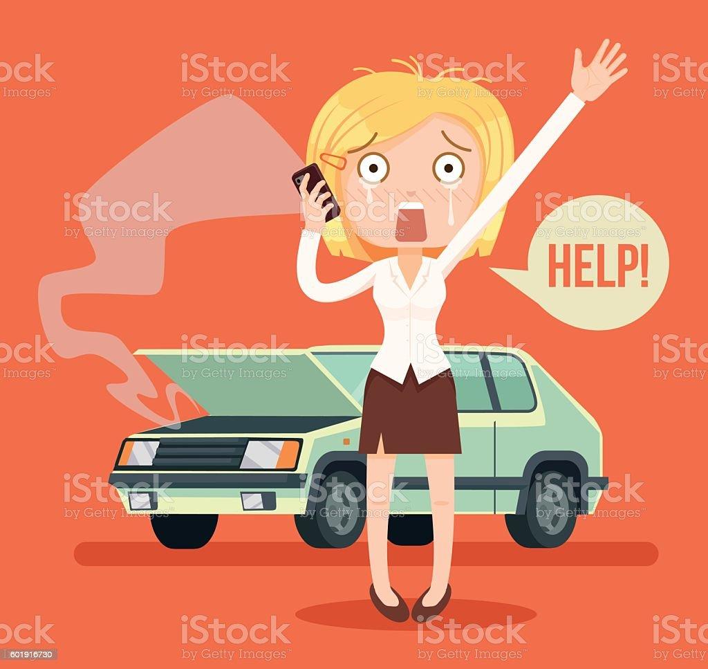 Woman character crying calling after car crash vector art illustration