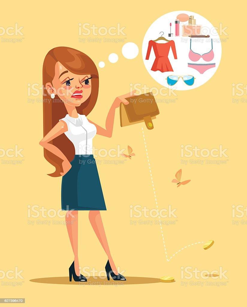 Woman character spent all her money. Vector flat cartoon illustration vector art illustration