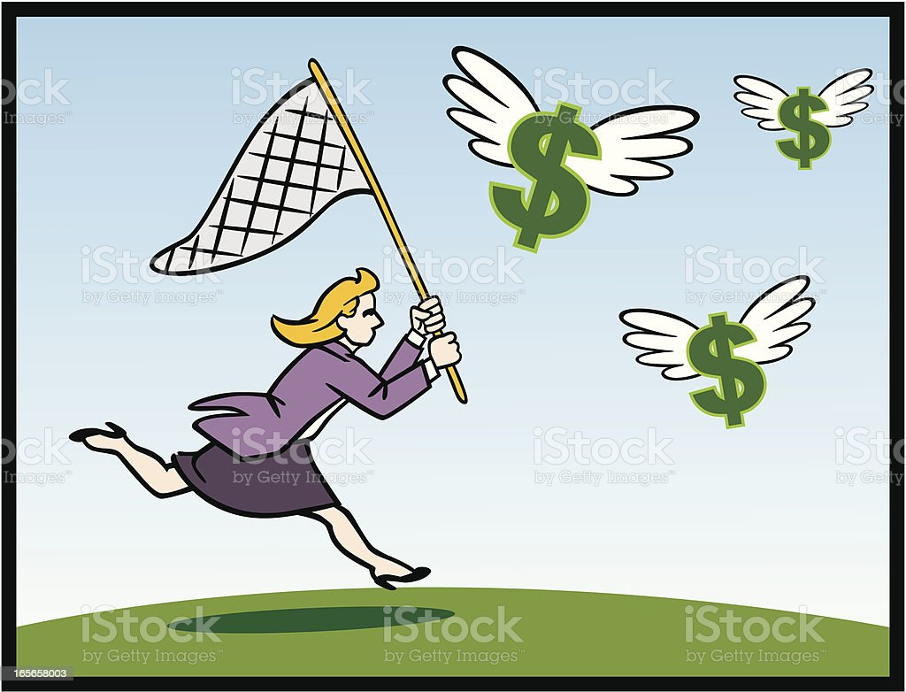 Woman Chasing Dollars With Net royalty-free stock vector art