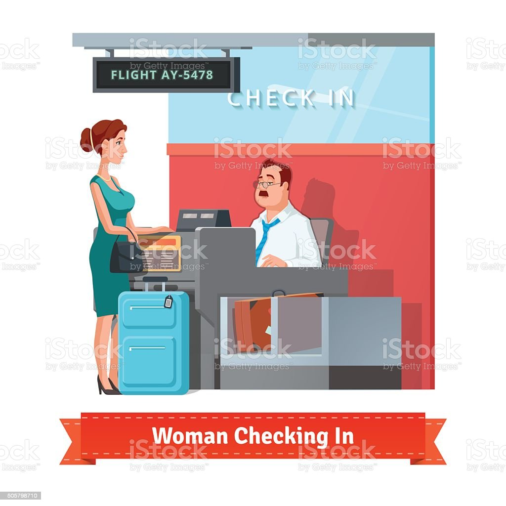 Woman checking in at the airport with clerk vector art illustration