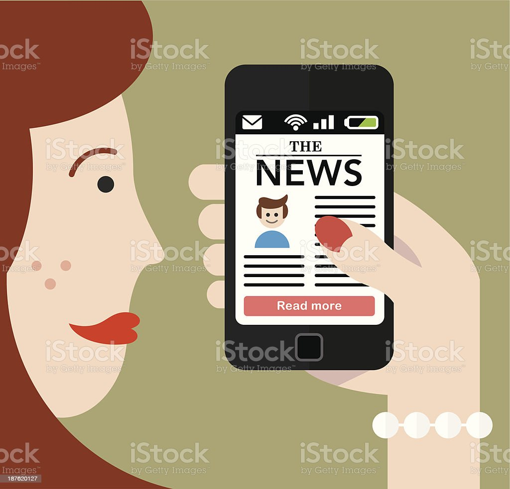 Woman checking the news on a Smartphone royalty-free stock vector art