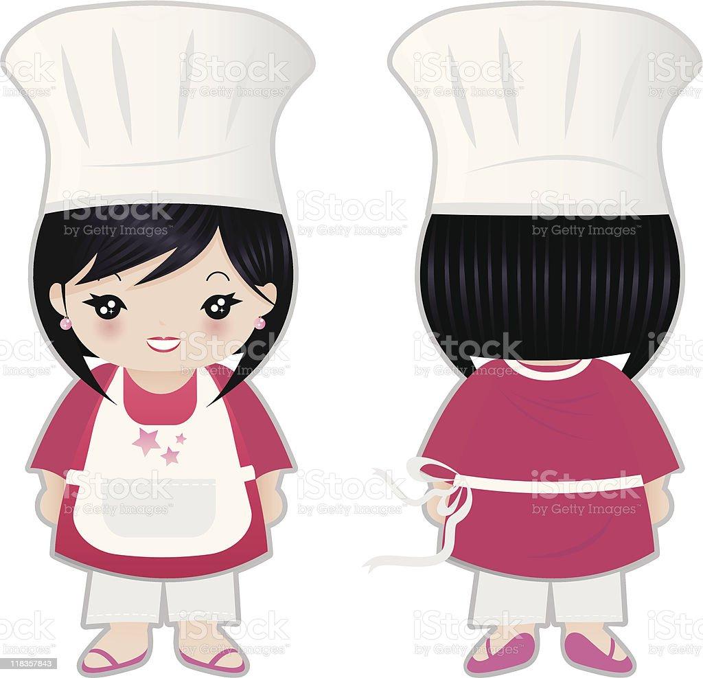 Mujer Chef la parte delantera y trasera illustracion libre de derechos libre de derechos