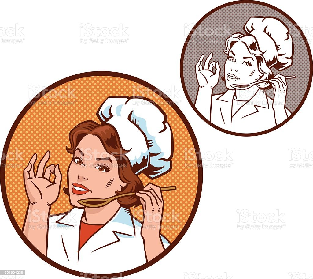 Woman Chef in Circle - Color and Monocrome vector art illustration