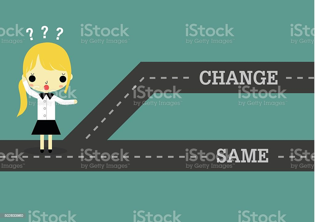 woman choose change to future or same the past vector art illustration
