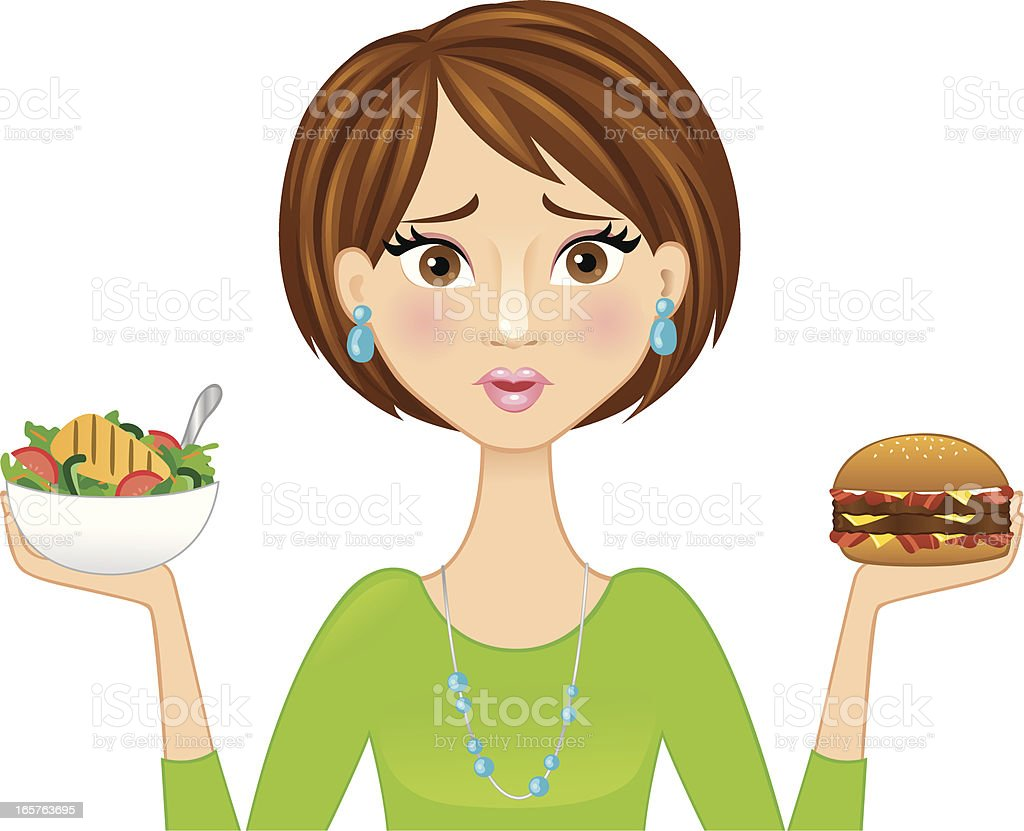 Woman choosing what to eat royalty-free stock vector art