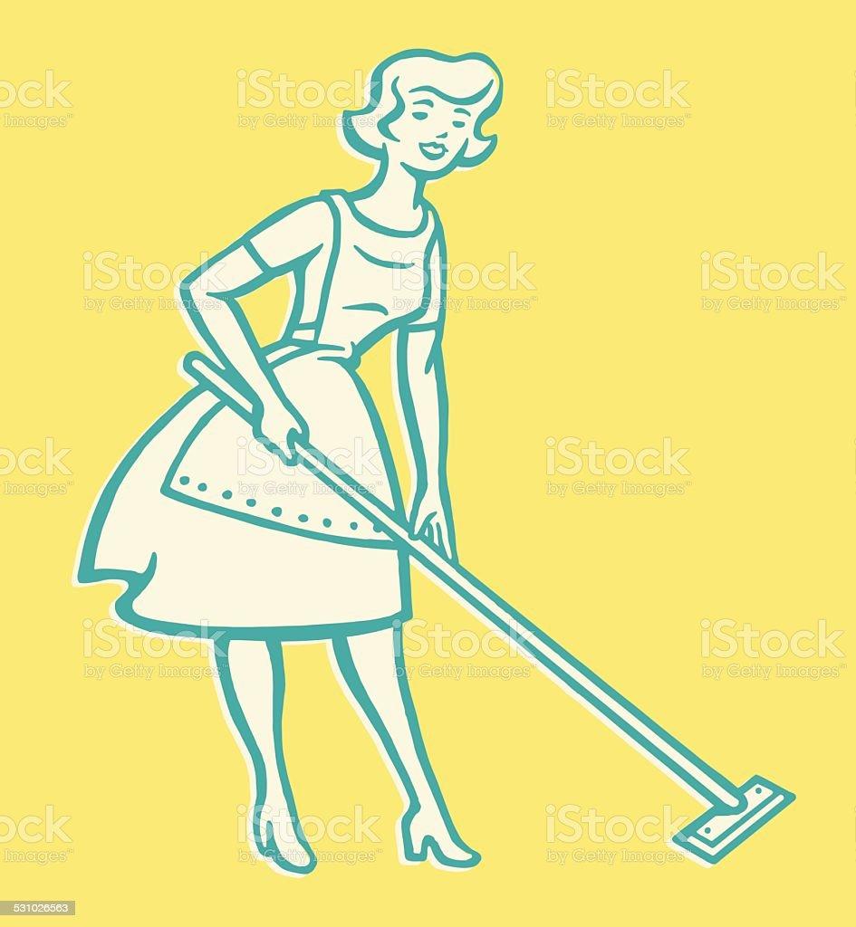 Woman Cleaning Floor vector art illustration