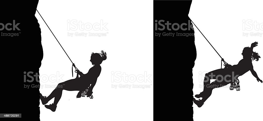 Woman climber descending vector art illustration
