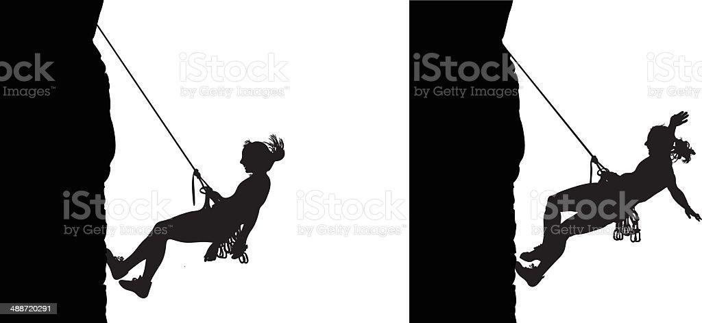 Woman climber descending vector art illustration