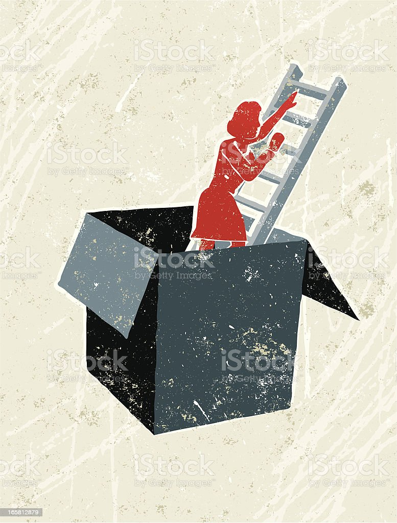 Woman Climbing Ladder Out of a Box royalty-free stock vector art