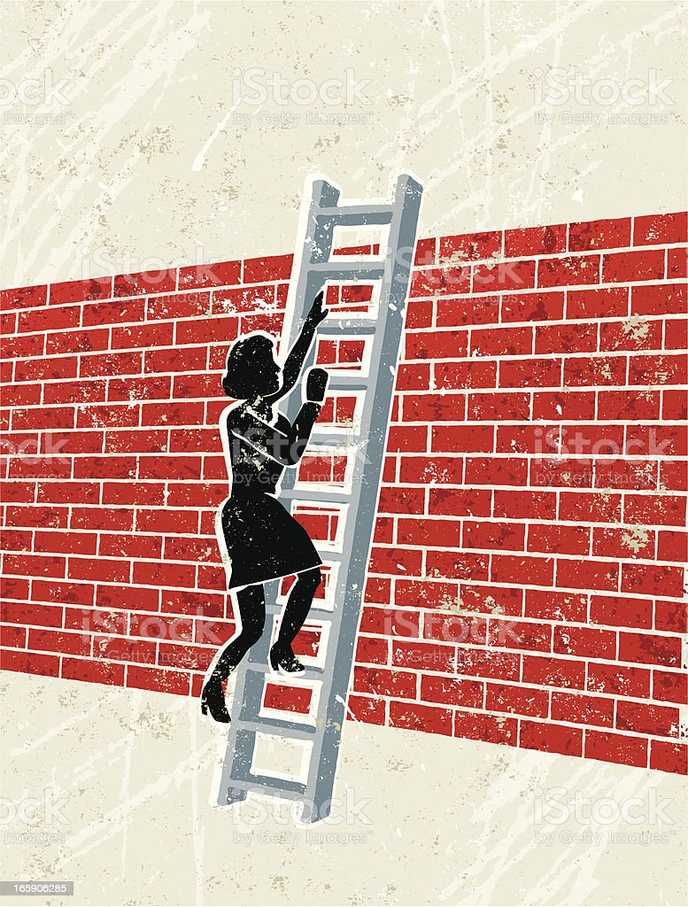 Woman Climbing Ladder Over a brick Wall vector art illustration