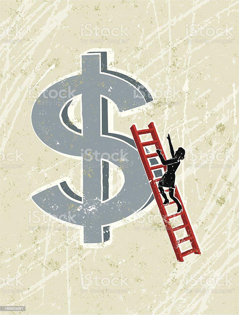 Woman Climbing Ladder Up a Dollar Symbol royalty-free stock vector art