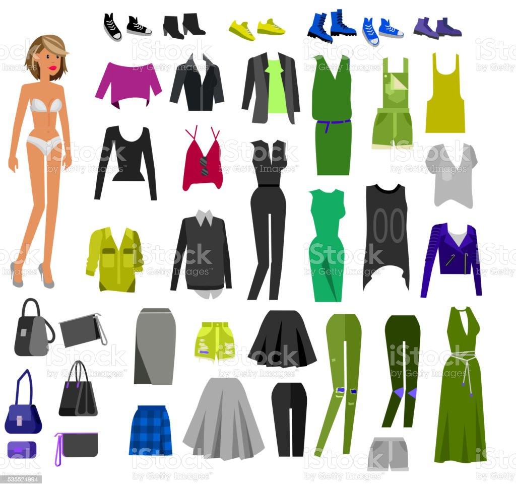 Woman Clothes. Wardrobe vector art illustration