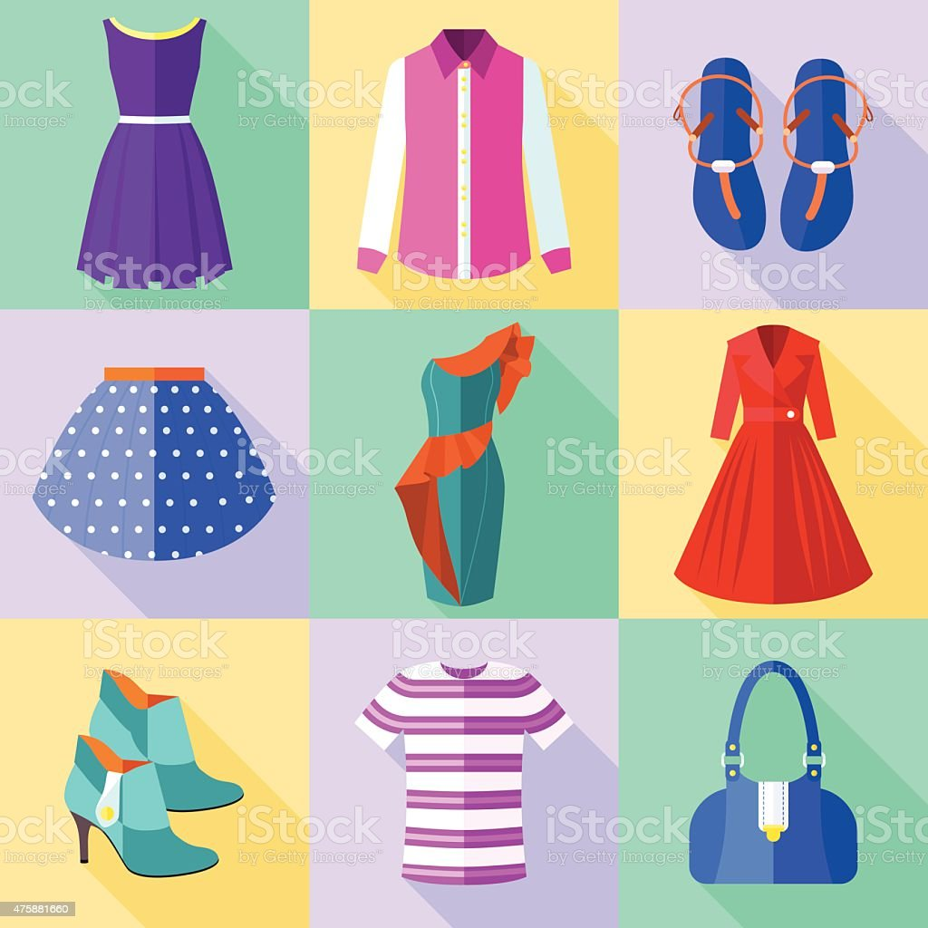 Woman Clothing Icons Set vector art illustration