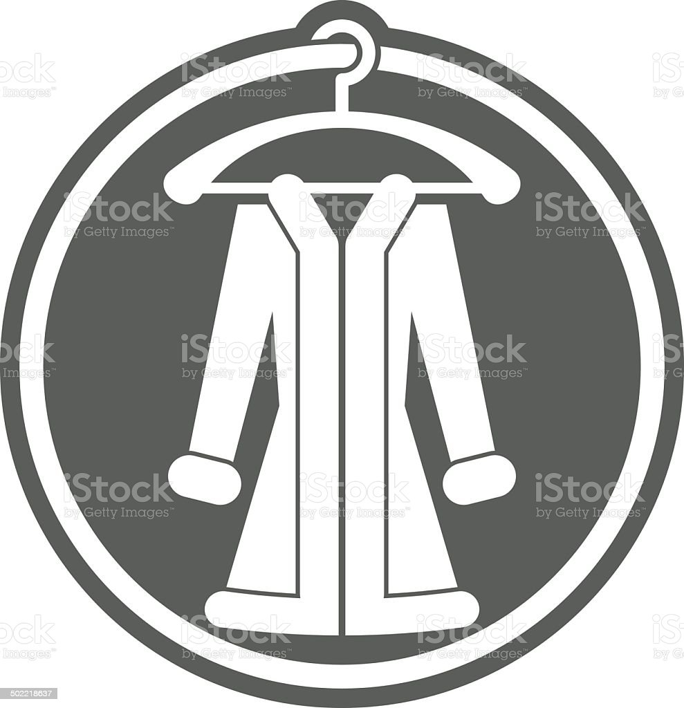Woman coat on hanger vector icon. vector art illustration