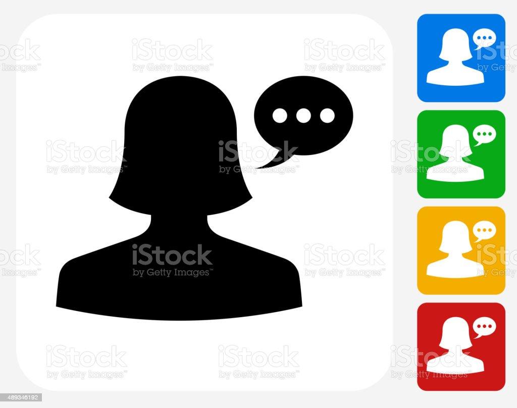 Woman Communication Head Icon Flat Graphic Design vector art illustration
