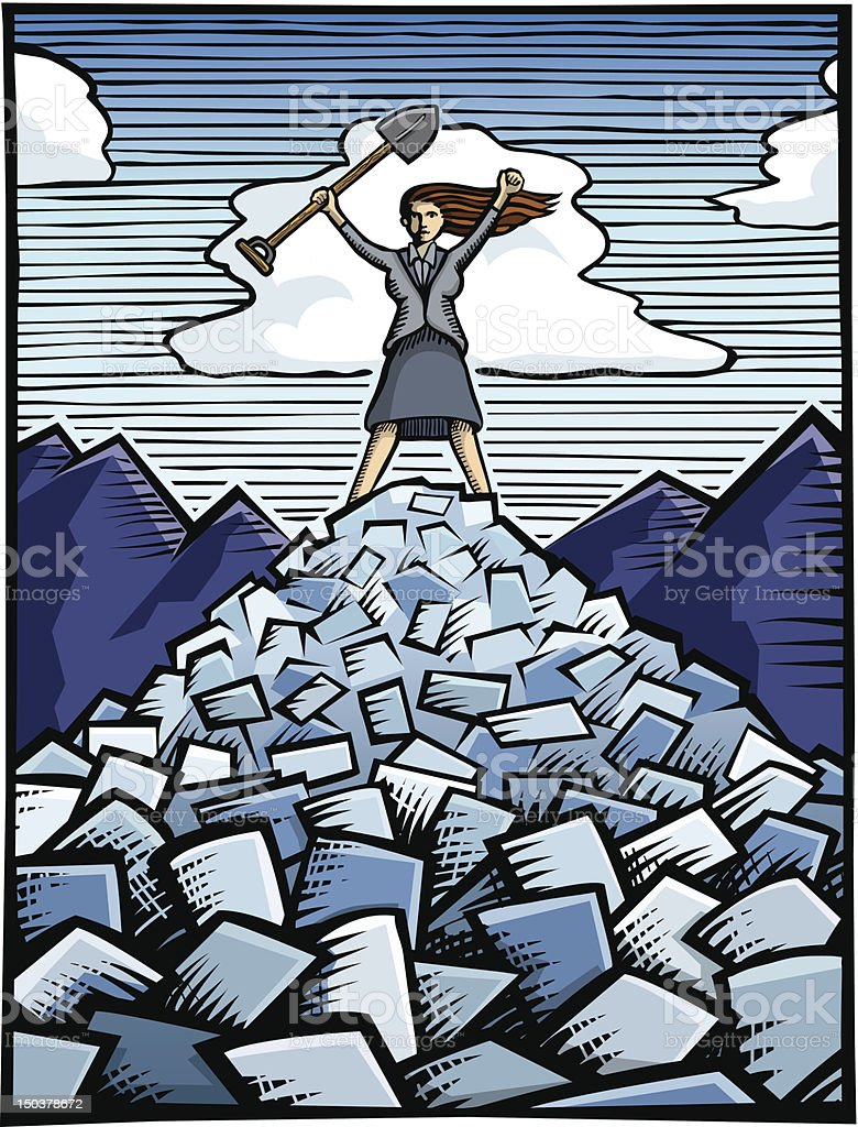 Woman Conquering Bills royalty-free stock vector art