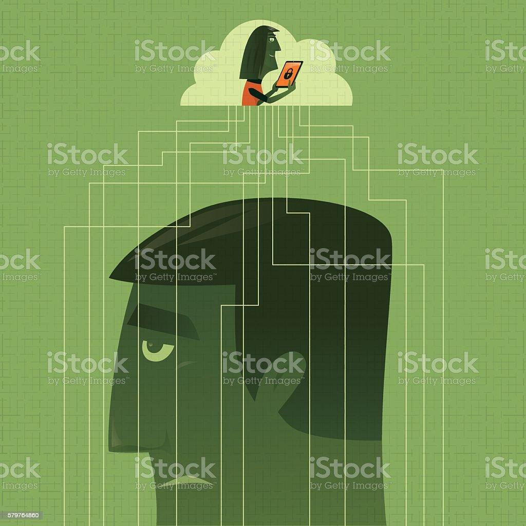 woman controlling man via internet vector art illustration