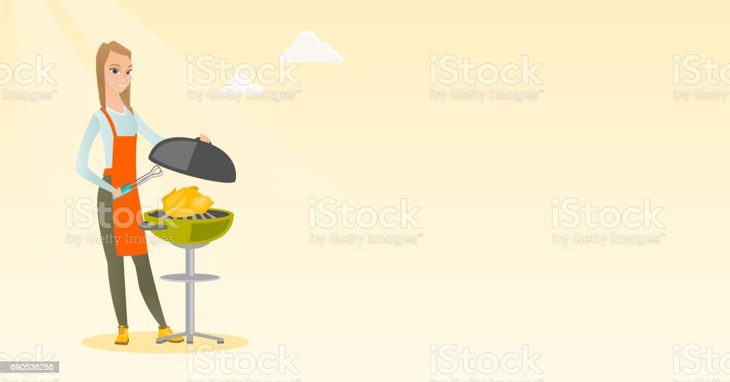 Woman cooking chicken on barbecue grill vector art illustration