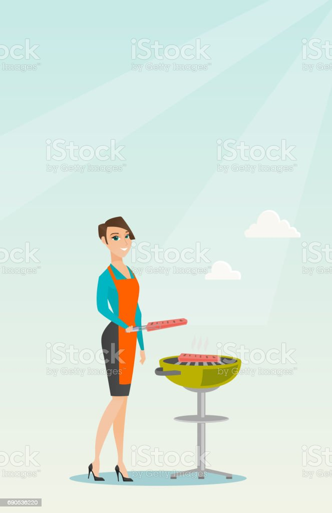 Woman cooking steak on barbecue grill vector art illustration