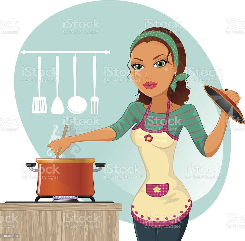 Woman cooking vector art illustration