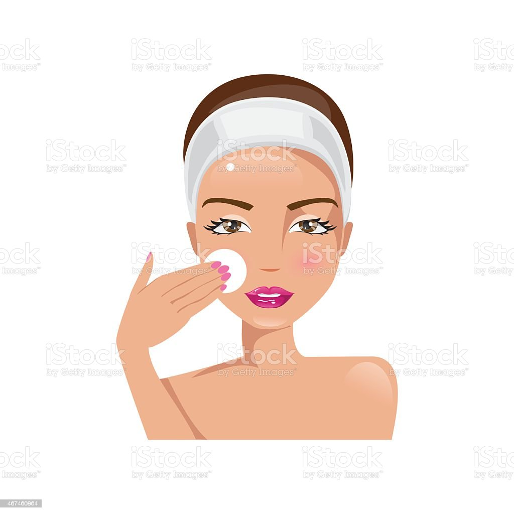 Woman cooks cleans the face. Vector illustration vector art illustration