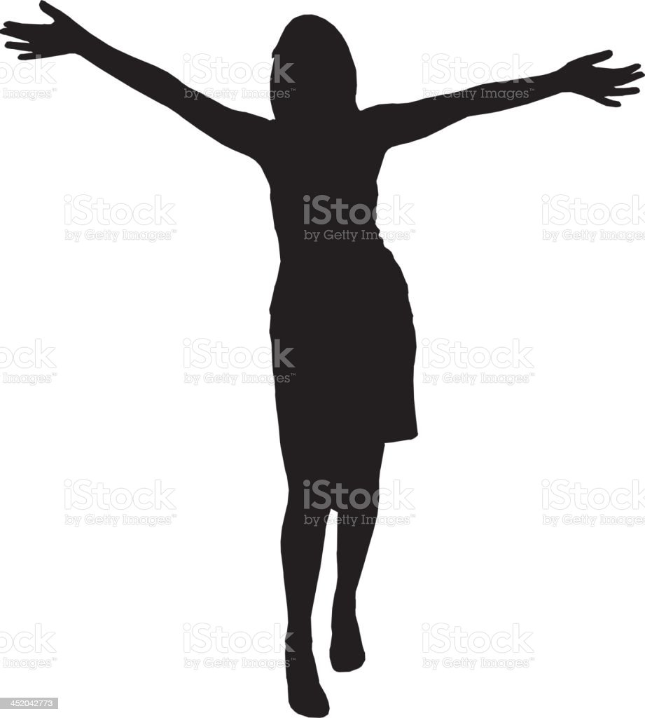 Woman dancing silhouette vector art illustration