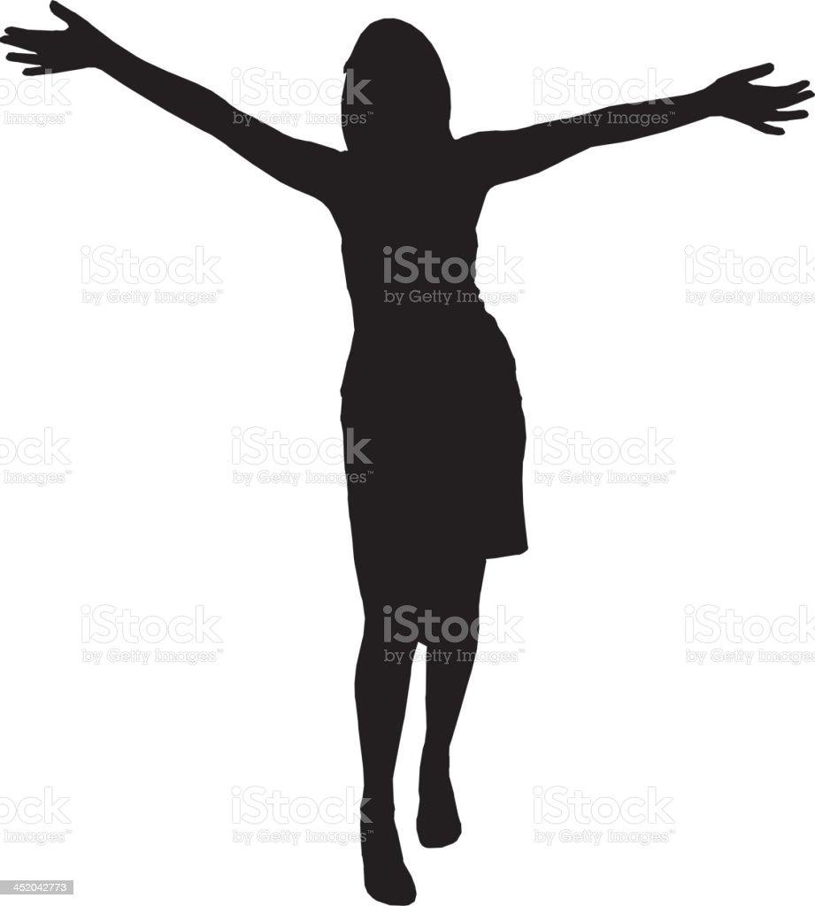 Woman dancing silhouette vector art illustration