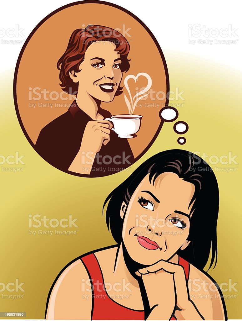 Woman Daydreaming About Coffee Break vector art illustration