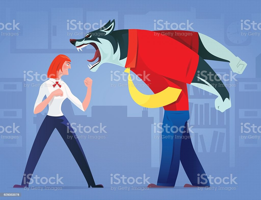 woman defending against business wolf vector art illustration