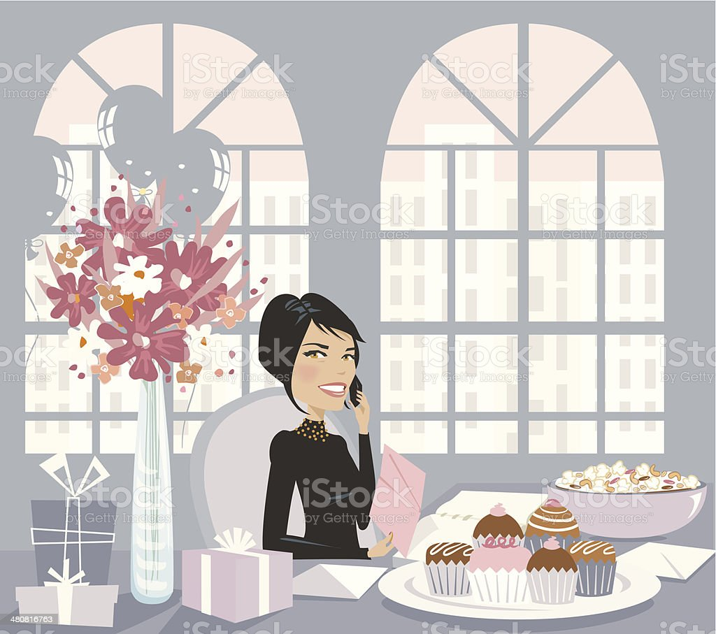 Woman Desk Gifts C vector art illustration