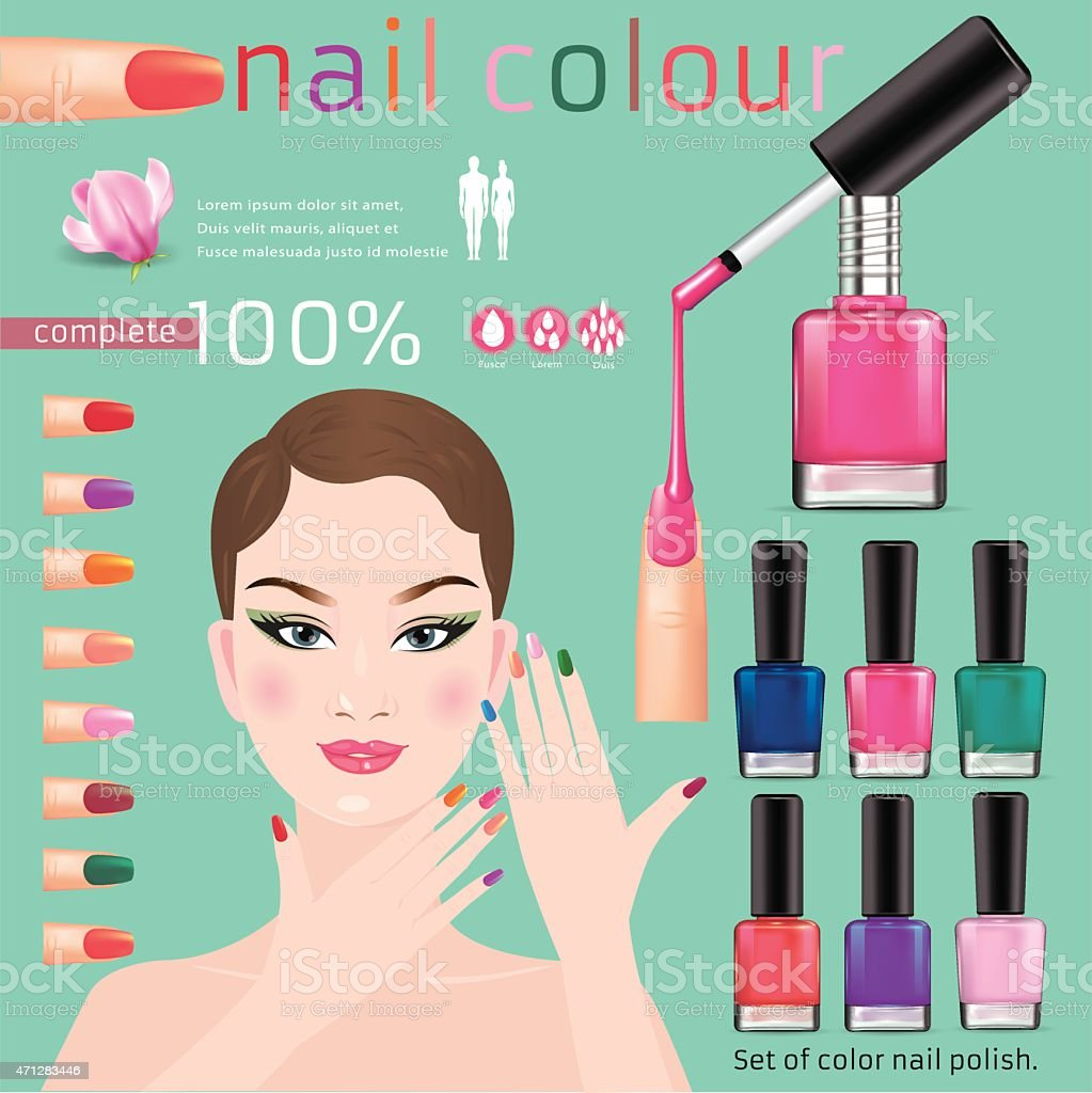 Woman displaying variety of nail polish options vector art illustration