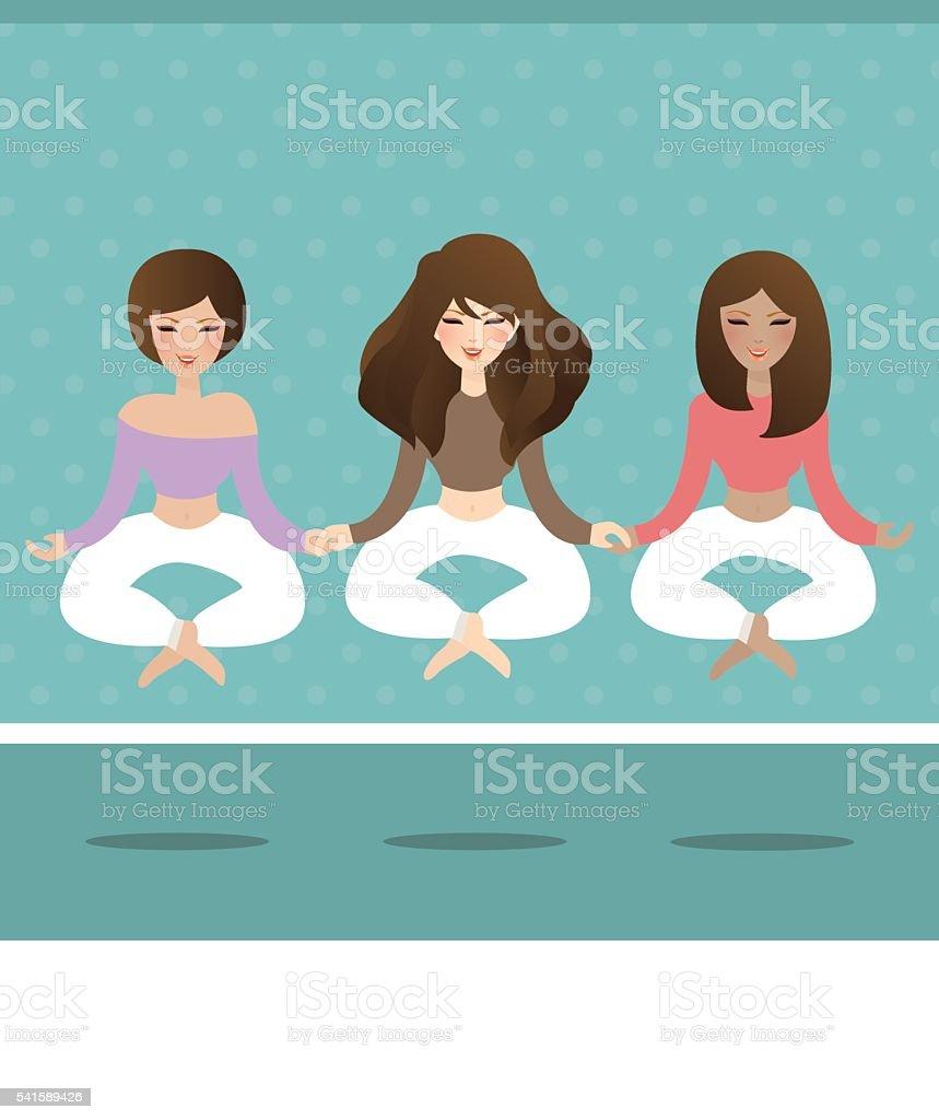 woman do yoga flying levitate in lotus position vector art illustration