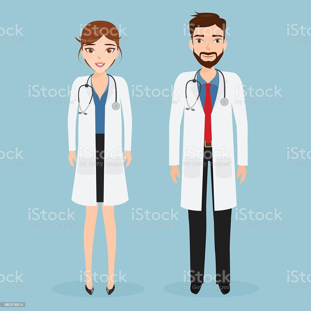 woman doctor and man doctor character at hospital. vector art illustration
