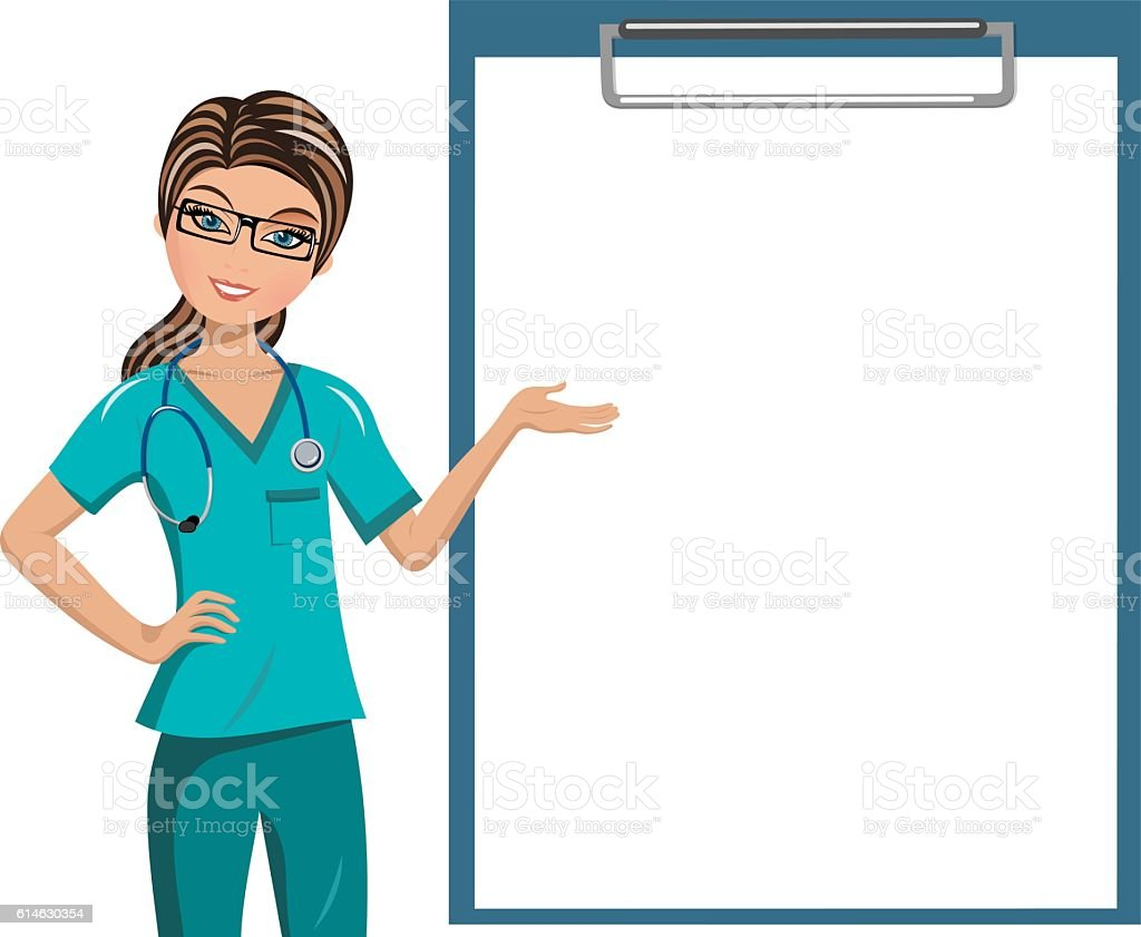Woman Doctor Blank Folder Isolated vector art illustration
