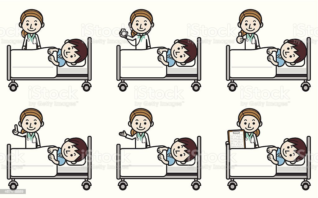 Woman doctor examining male patient vector art illustration