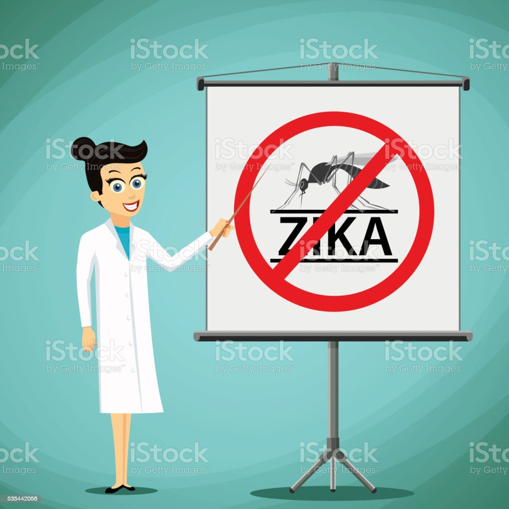 Woman doctor showing on the board prohibition sign vector art illustration