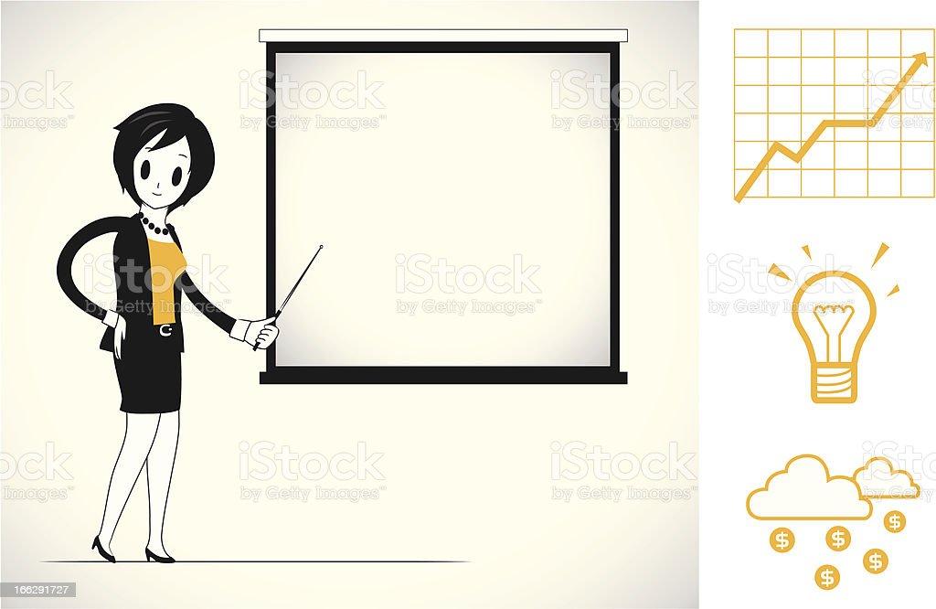 Woman doing business presentation royalty-free stock vector art