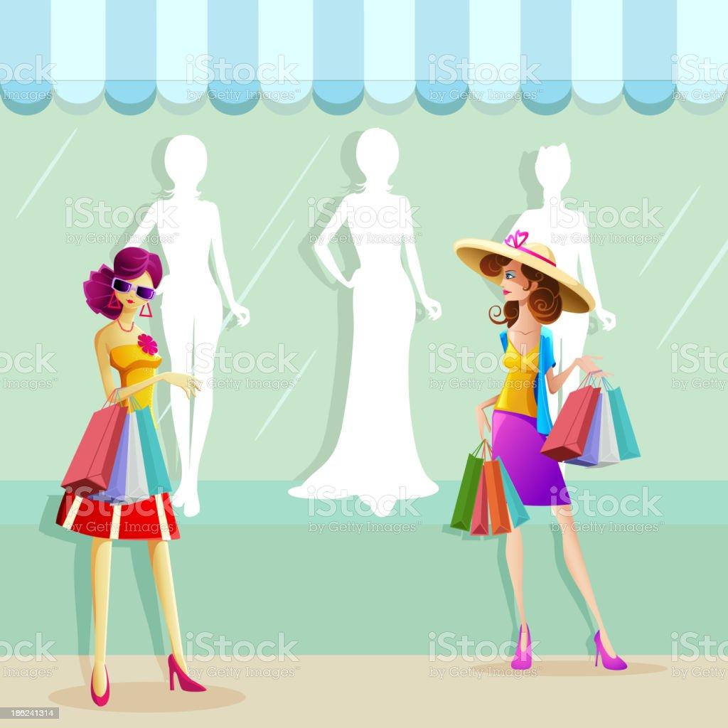 Woman doing Shopping royalty-free stock vector art
