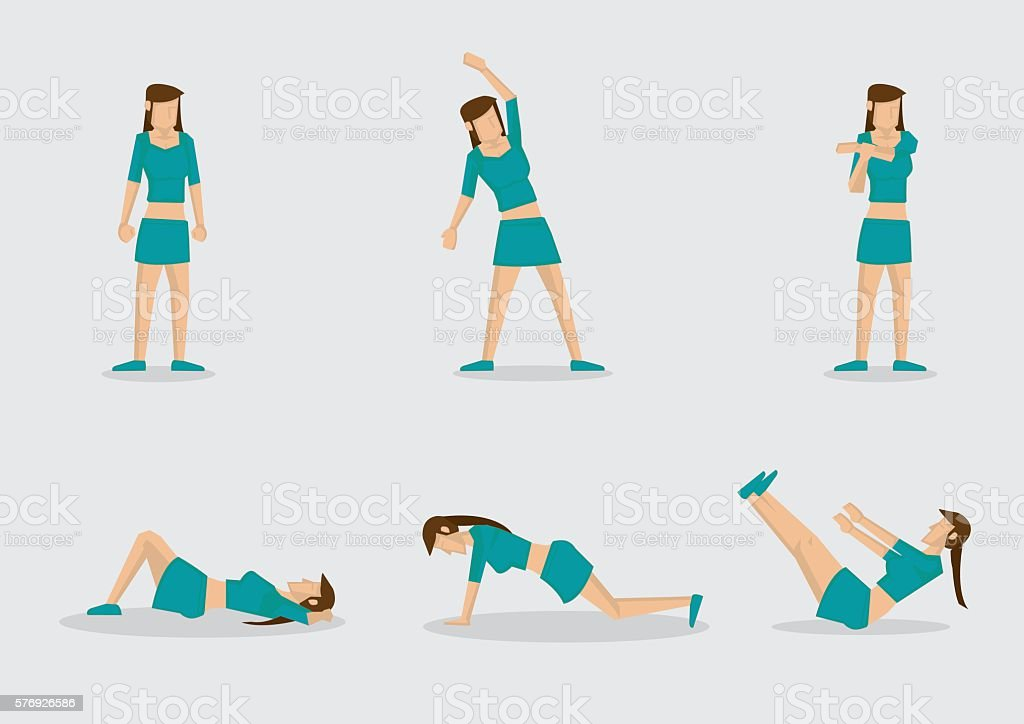 Woman Doing Warm Up Exercises Vector Character Illustration vector art illustration